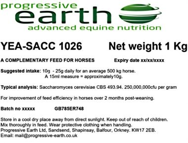 Yea Sacc for hind gut health in equines.