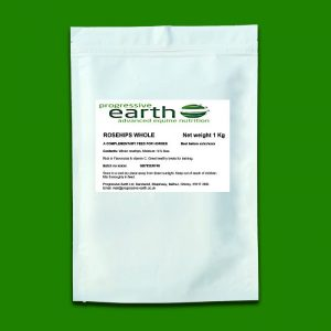 Progressive Earth Rosehips (whole) digestive tonic and immune system support for horses and ponies. Source of Vitamin C for equines.