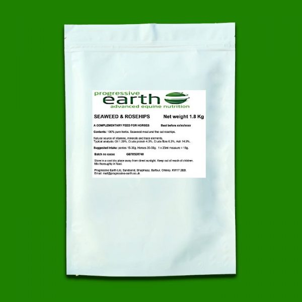 Progressive Earth Seaweed and Rosehips. Natural source of iodine and Vitamin C for horses and ponies.