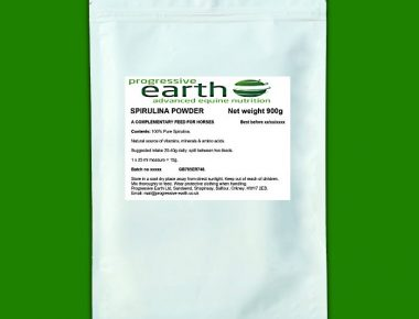 Progressive Earth Spirulina. Natural source of vitamins and biting fly relief for horses and other equines.