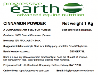 Progressive Earth Cinnamon Powder Label