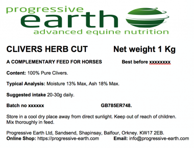 Progressive Earth Clivers Herb Cut Label