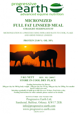 Progressive Earth Micronized Full Fat Linseed Meal Label