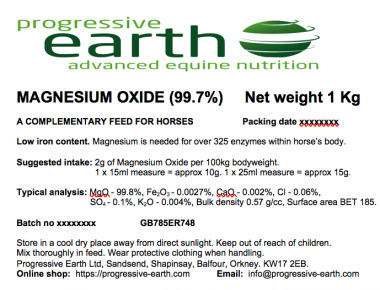 Progressive Earth Magnesium Oxide 99.7% Label