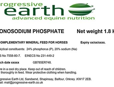 Progressive Earth Monosodium Phosphate for mineral balancing in horses.