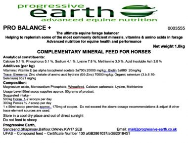 Pro Balance + mineral balancer for use where professional forage analysis has not been undertaken.